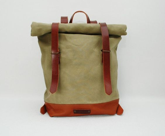 Canvasbeutel - waxed Canvas Backpack, mint color, hand waxed - ein Designerstück von NATURAL-HERITAGE-BAGS bei DaWanda