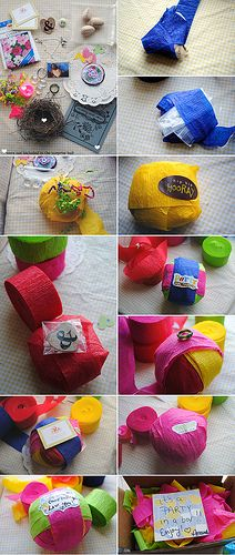 "So clever. Wrap small gifts in crate paper to form a ""Surprise Gift Ball"". Little surprises revealed as the ball is unwrapped...love."