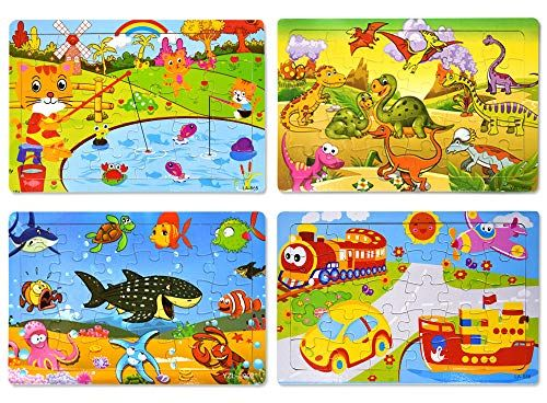 4 in 1 Wooden Puzzle Traffic Animal Children's Kids Learning Fun Toy Activity