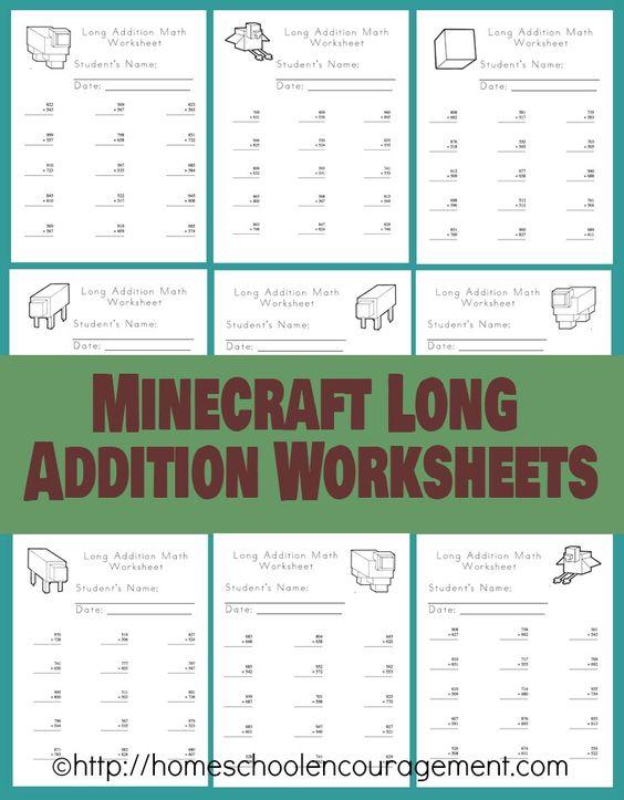 math worksheet : free minecraft worksheets long addition  minecraft addition  : Long Addition Worksheets