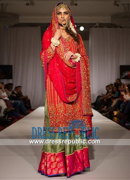 Fire Red Sweet-heart Neck Long Shirt Pakistani Bridal Dresses 2014
