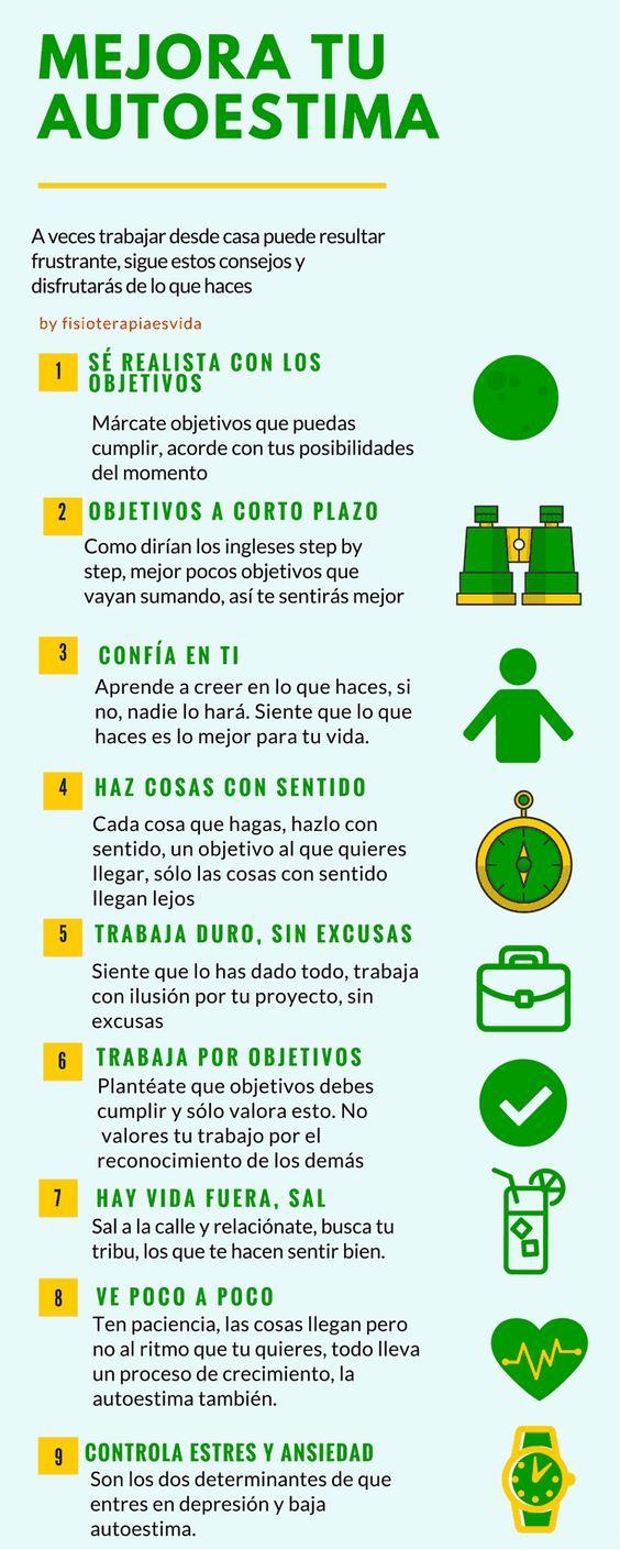 9 puntos para mejorar la autoestima. || #infografias #psicologia #motivacion #superacionmotivacion