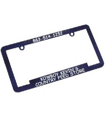 Promotional license plate frames. These plastic license plate frames are custom license plate frames for dealerships & schools. Also are promotional license plate frames & custom car frames for schools. Make your license plate frames custom!  PLAU63  Cocoa Beach FL http://www.alphapromoworld.com/auto/cycle-products/wholesale-license-plate-frames/custom-license-plate-frames/cat_117.html 321-751-0022