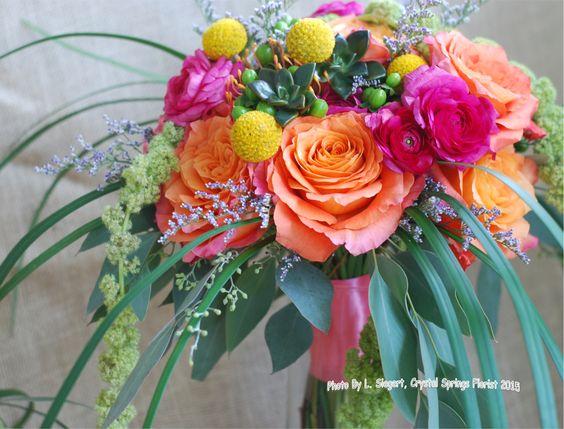 "Wedding bouquet, hot summer colors - ""free spirit"" roses, hot pink ranunculus, craspedia balls, green hypericum berries, mini succulents, caspia, green hanging amaranths, and lily grass"