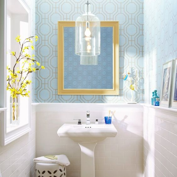 Love the wallpaper from home depot fb page bathroom for Home depot bathroom wallpaper