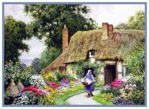 Tending Garden English Country Cottage Strachan Counted Cross Stitch Pattern