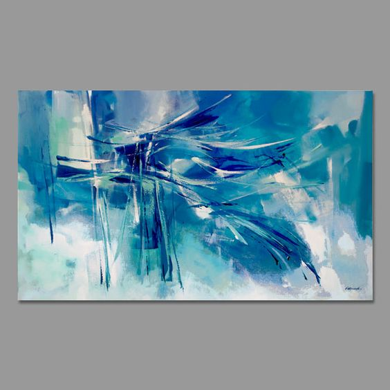 Turquesa azul verde la pintura abstracta moderna - Pintura azul turquesa ...