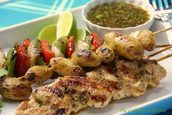 Grilled Chicken, Pepper and Potato Kabobs with Honey Cumin Glaze