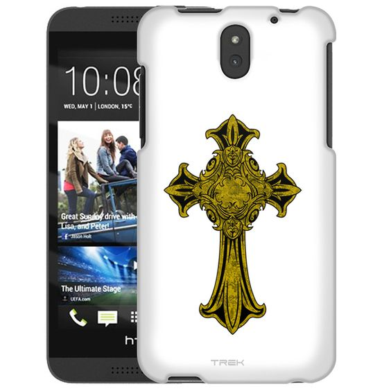 HTC Desire 610 Croos Gold on White Slim Case