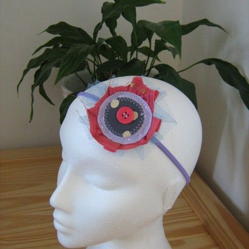 SALE Upcycled Pink and Purple Fabric Hair Band £5.50