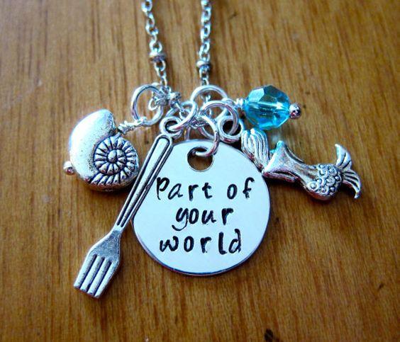 """Disneys """"Arielle die Meerjungfrau"""" inspiriert Halskette. Part Of Your World. Silber, Swarovski-Kristall, für Frauen oder Mädchen"""