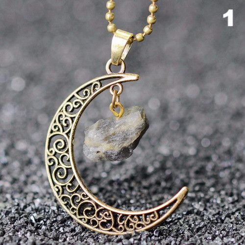 Ancient Moon Crystal Amethyst Bronze Necklace Pendant