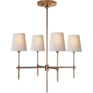 Visual Comfort TOB5002HAB-NP Thomas O'Brien Small Bryant 4 Light Chandelier Hand Rubbed Antique Brass with Natural Paper Shades: Living Room, Antique Brass, Dining Room Chandeliers, Master Bedroom, Sitting Room, A List Lighting, Antique Nickel