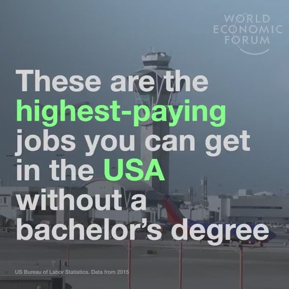 @wef : Don't have a bachelor's degree? These are the highest paying jobs you can get in the US without one. Read more: https://t.co/FDs8WcMxME