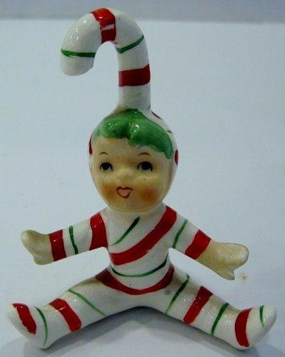 Vintage Lefton Japan Christmas Candy Cane Kid Elf Pixie Ornament Figurine #3 VGC