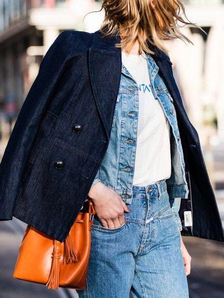 Jacket: tumblr blue denim t-shirt white t-shirt denim jeans blue jeans bag orange tassel bucket bag