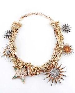 Fashion Alloy Gem Star Flower Necklace