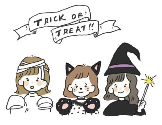 trick or treat cute aesthetic art pinterest artist unknown | soyvirgo.com october aesthetic 2020 guide