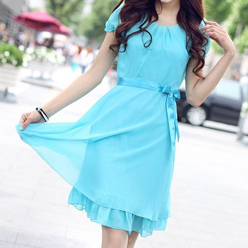 lilystyle   Elegant Sweet Solid Color Falbala Bowknot Sash Chiffon Dress   Online Store Powered by Storenvy