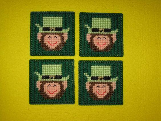 4 Leprechaun Coasters St. Patrick's Day Plastic Canvas Leprechaun Coasters picclick.com