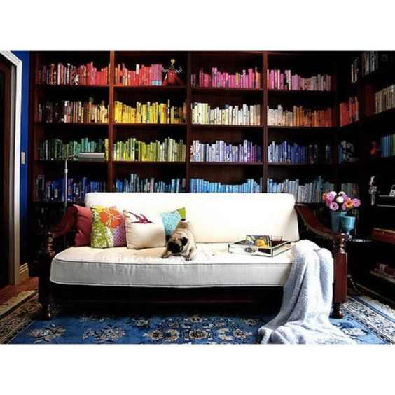 Use books in lieu of fine art. - If you're on a budget and can't shell out for fine art, pick up bold, colorful books at a secondhand shop and arrange them wall to wall for major visual impact.: