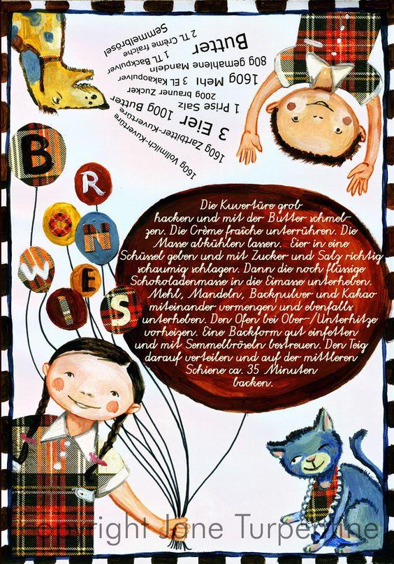 Hmmm... lecker!  Es gibt  * Brownies  Eine Leckerei nicht nur für die beiden Kinder..  Eine Rezeptkarte (ca. 10 x 15 cm), die entweder als Postkarte verschickt werden, die man sich ins...