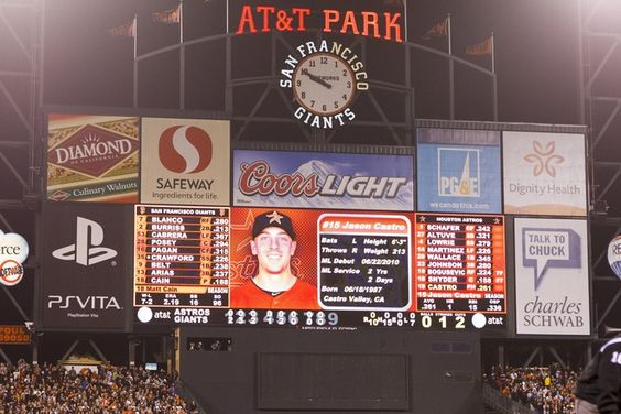 SAN FRANCISCO, CA - JUNE 13: General view of the scoreboard during the last batter of the game as Matt Cain #18 of the San Francisco Giants (not pictured) pitches against the Houston Astros during the ninth inning at AT Park on June 13, 2012 in San Francisco, California. Matt Cain pitched a perfect game while striking out a career-high 14, and was the first in Giants franchise history. (Photo by Jason O. Watson/Getty Images)