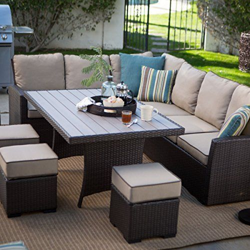 Dark Brown Modern All Weather Wicker Aluminum Sofa Sectional Patio