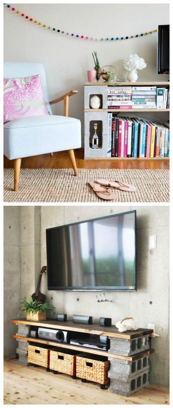 Diy mueble con bloques de hormig n muebles reciclados for Armarios reciclados