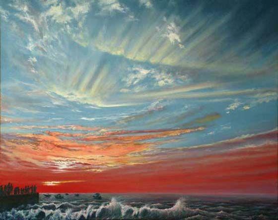 Masla, Watching the Sunset, Los Muertos Beach, Puerto Vallarta, oil and alkyd on canvas, 18″ x 24″