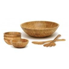 Serving Platters/ Bowls/Trays: Bamboo 7pc Salad Set