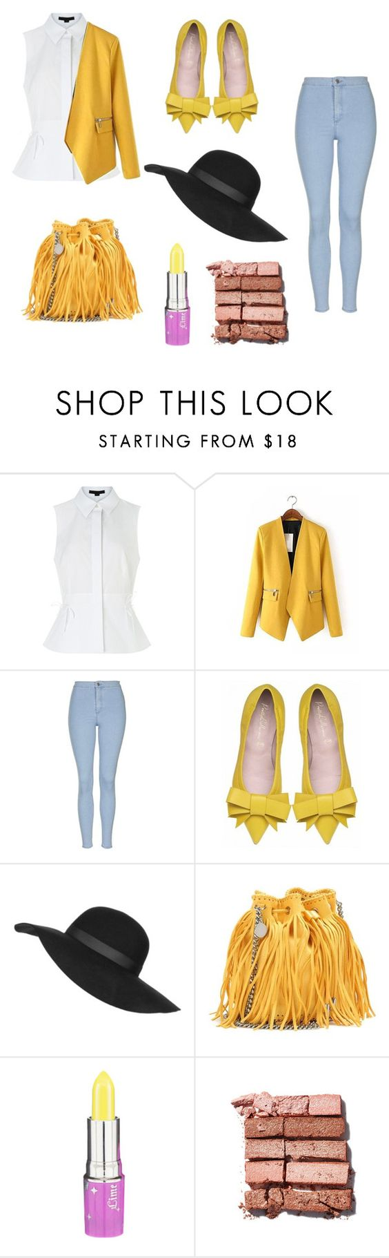"""""""Yellow"""" by mooncakez104 ❤ liked on Polyvore featuring Alexander Wang, Topshop, STELLA McCARTNEY, Lime Crime and Bobbi Brown Cosmetics"""