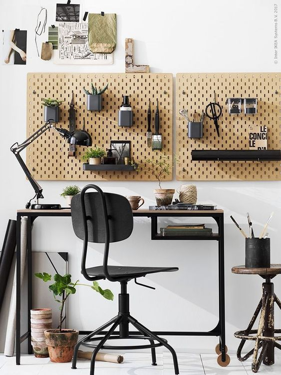 Modern Scandinavian Office With Black And Wooden Details Office Interior Design Home Office Decor Home Office Design