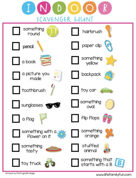 "Whether it is a rainy day, a snowy day, or simply a ""we are not leaving the house"" day, I have compiled the perfect list of indoor activities for kids that will keep them entertained all day! Take a scavenger hunt to the next level with putting items in dark rooms and giving your children flashlights to make it even more challenging!  Download this free indoor scavenger hunt printable! #FreePrintable #ScavengerHunt"