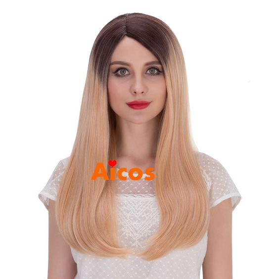 Women Long Straight Full Wig Heat Resistant Hair Brown Blonde ombre Party Wigs…