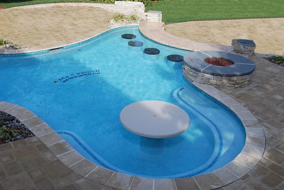 Bar Stools And Table In A Small Pool Great For Gatherings