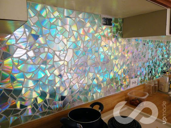 how to use old cds for mosaic craft projects diy kitchen backsplash