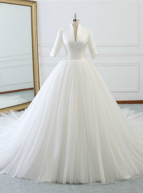 White Deep V Neck High Neck Short Sleeve Wedding Dress Short Sleeve Wedding Dress White Ball Gowns Wedding Dresses Satin