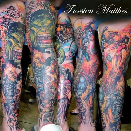 Marvel leg sleeve | Tattoos | Pinterest | Sleeve, Sleeve ...