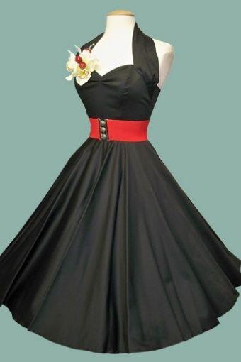 Vivien of Holloway - 50s Retro halter black sateen jurk swing dress