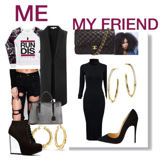 """""""why do u go over the top"""" by courteneybless ❤ liked on Polyvore featuring WithChic, Rumour London, Christian Louboutin, Nicki Minaj, Glamorous, Bling Jewelry, Wild Diva, John Hardy, Calvin Klein and Chanel"""