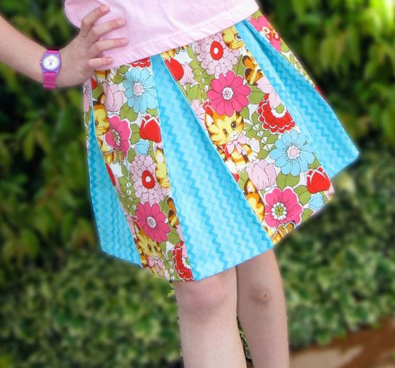 Pleated Skirt Sewing Pattern Tutorial PDF toddlers and girls 2 to 8 by Tie Dye Diva Patterns