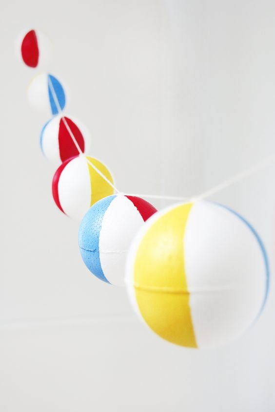 DIY Pool Party Beach Ball Garland (could be redesigned to be any round object - bouys, bobbers, baseballs, brightly colored balls, globes, hot air balloons, etc.)