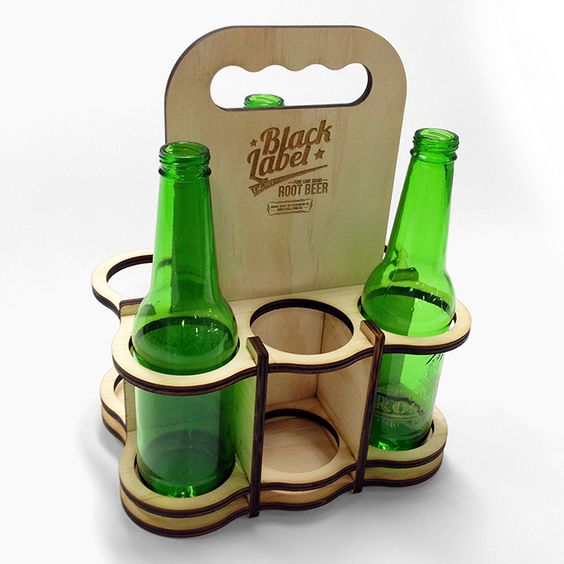 Custom Six Pack Carrier - Laser etched and cut from 7mm Plywood