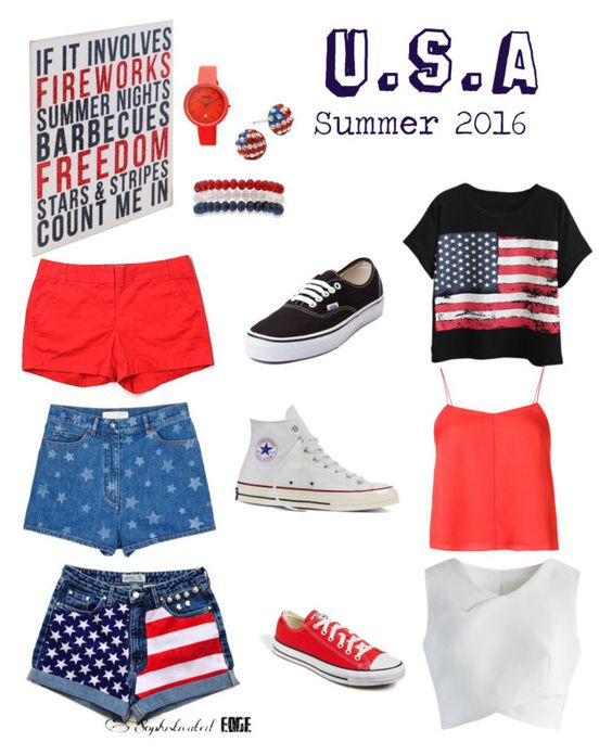"""""""Merica🇺🇸"""" by gaby-collazo ❤ liked on Polyvore featuring Valentino, J.Crew, Chicnova Fashion, Chicwish, T By Alexander Wang, Converse, Vans, Crayo and Kim Rogers"""