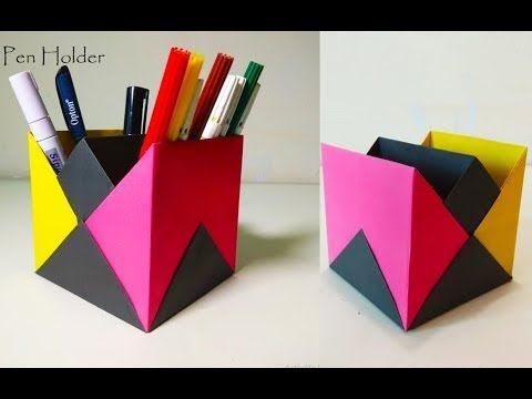 Origami Pen Stand Pen Holder Craft Ideas Youtube Origami