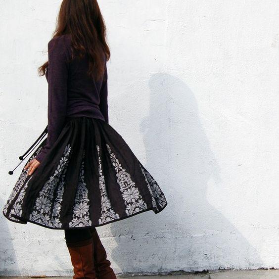 Vol de Nuit reversible Jacquard skirt Q1101 by idea2lifestyle, $65.00