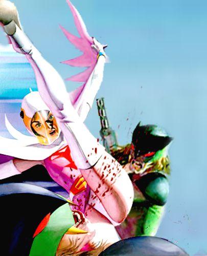 キックで戦う白鳥のジュンのかっこいい画像。