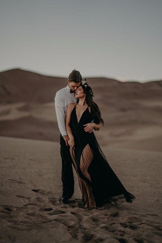 black dress engagement shoot outfit