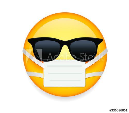 High Quality Emoticon On White Background Emoji With Sunglasses And Mask Yellow Sick Emoji Wearing Sunglasses And Medical Mask To In 2020 Sick Emoji Emoji Mask Emoji